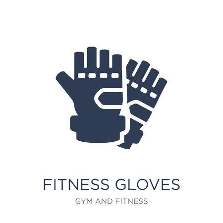 Fitness Gloves icon. Trendy flat vector Fitness Gloves icon on white background from Gym and fitness collection, vector illustration can be use for web and mobile, eps10  イラスト・ベクター素材