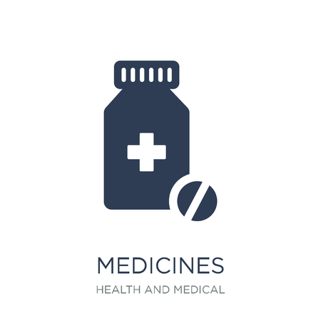 Medicines icon. Trendy flat vector Medicines icon on white background from Health and Medical collection, vector illustration can be use for web and mobile, eps10