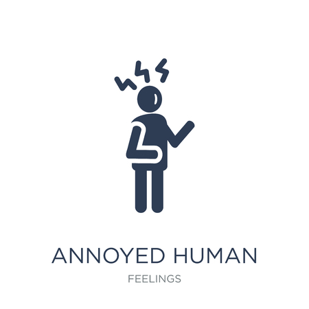 annoyed human icon. Trendy flat vector annoyed human icon on white background from Feelings collection, vector illustration can be use for web and mobile, eps10