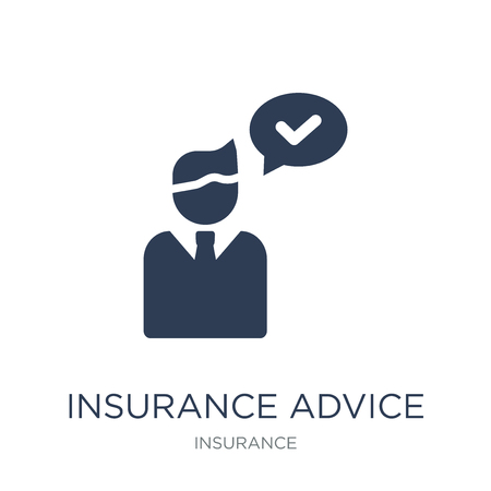 insurance advice icon. Trendy flat vector insurance advice icon on white background from Insurance collection, vector illustration can be use for web and mobile, eps10 Ilustracja