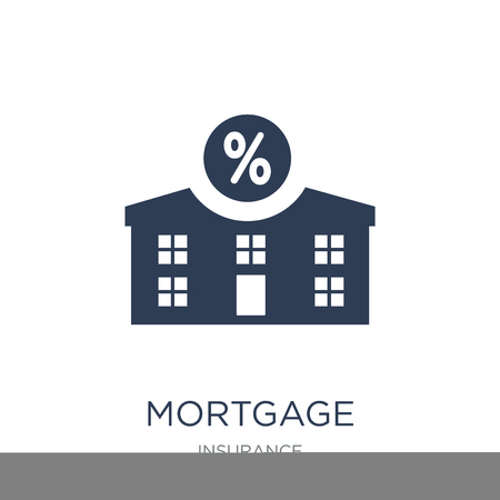 Mortgage icon. Trendy flat vector Mortgage icon on white background from Insurance collection, vector illustration can be use for web and mobile, eps10 Foto de archivo - 111298755