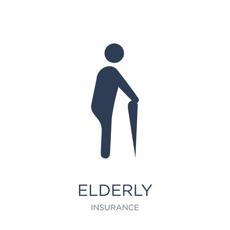 Elderly icon. Trendy flat vector Elderly icon on white background from Insurance collection, vector illustration can be use for web and mobile, eps10 Illusztráció
