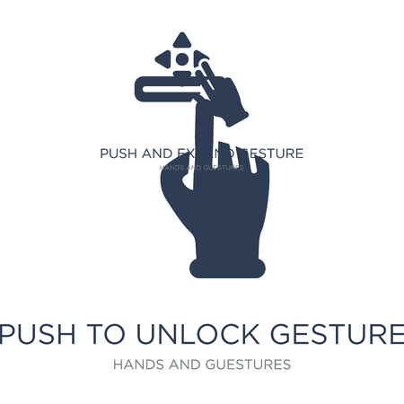 Push to unlock gesture icon. Trendy flat vector Push to unlock gesture icon on white background from Hands and guestures collection, vector illustration can be use for web and mobile, eps10