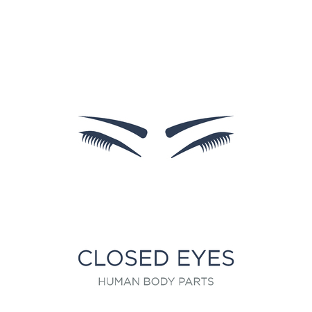 Ojos cerrados con icono de pestañas y cejas. Moda vector plano ojos cerrados con icono de pestañas y cejas sobre fondo blanco de la colección de partes del cuerpo humano, Ilustración de vectores se puede utilizar para web y móvil, eps10