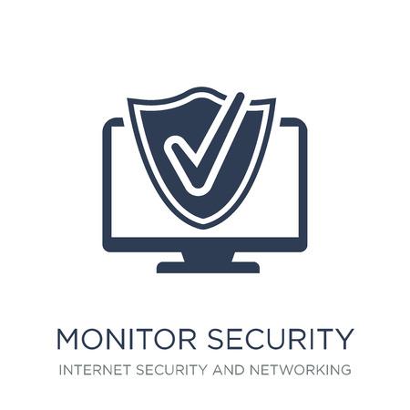 Sicherheitssymbol überwachen. Trendiges flaches Vektor-Monitor-Sicherheitssymbol auf weißem Hintergrund aus der Internetsicherheits- und Netzwerksammlung, Vektorillustration kann für Web und Mobile verwendet werden, eps10 Vektorgrafik