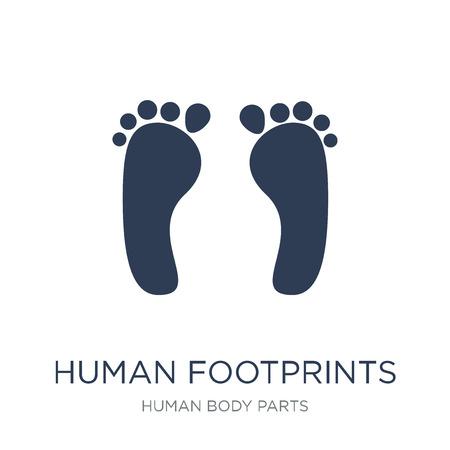 Menselijke voetafdrukken pictogram. Trendy platte vector menselijke voetafdrukken pictogram op witte achtergrond uit menselijke lichaamsdelen collectie, vectorillustratie kan worden gebruikt voor web en mobiel, eps10