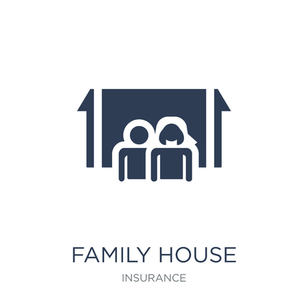 Family House icon. Trendy flat vector Family House icon on white background from Insurance collection, vector illustration can be use for web and mobile, eps10