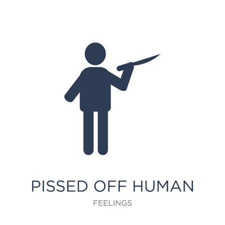 pissed off human icon. Trendy flat vector pissed off human icon on white background from Feelings collection, vector illustration can be use for web and mobile, eps10 Ilustrace
