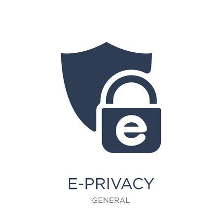e-privacy icon. Trendy flat vector e-privacy icon on white background from general collection, vector illustration can be use for web and mobile, eps10 Ilustração