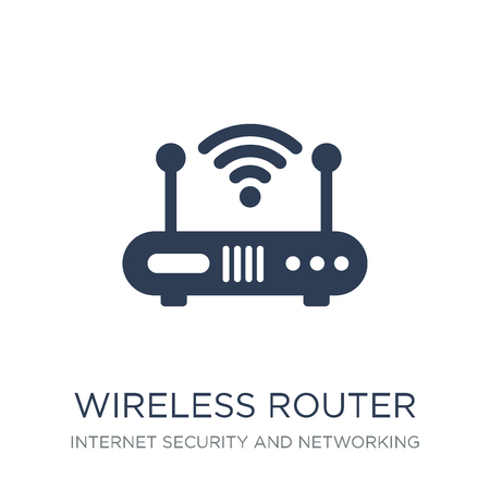 Wireless router icon. Trendy flat vector Wireless router icon on white background from Internet Security and Networking collection, vector illustration can be use for web and mobile, eps10 Stock fotó - 112115862