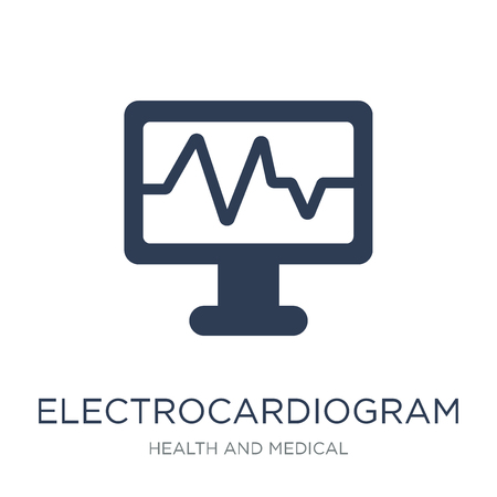 Electrocardiogram icon. Trendy flat vector Electrocardiogram icon on white background from Health and Medical collection, vector illustration can be use for web and mobile, eps10