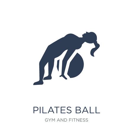 Icono de bola de Pilates. Icono de bola de Pilates de moda vector plano sobre fondo blanco de colección de gimnasio y fitness, Ilustración de vectores se puede utilizar para web y móvil, eps10