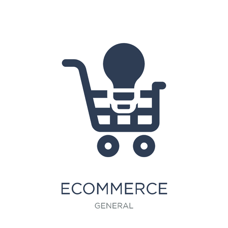 ecommerce solutions icon. Trendy flat vector ecommerce solutions icon on white background from general collection, vector illustration can be use for web and mobile, eps10 Illusztráció