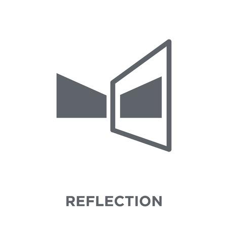 Icono de reflexión. Concepto de diseño de reflexión de la colección Geometry. Ilustración de vector de elemento simple sobre fondo blanco. Ilustración de vector