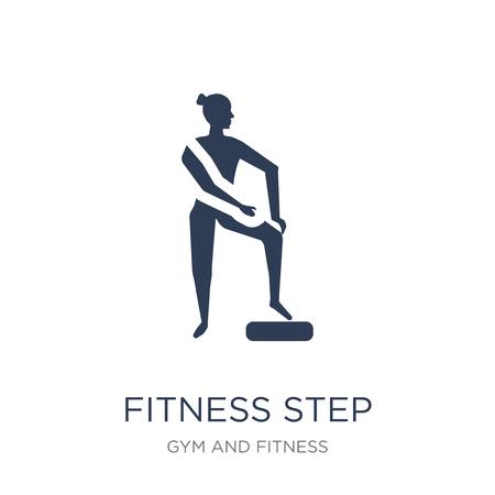 fitness krok ikona. Modny płaski wektor fitness krok ikona na białym tle z kolekcji siłowni i fitness, ilustracji wektorowych można używać dla sieci web i mobile, eps10 Ilustracje wektorowe