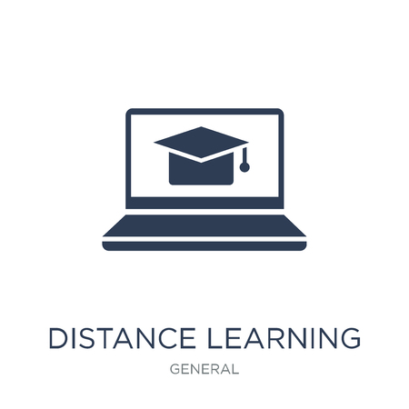 distance learning icon. Trendy flat vector distance learning icon on white background from general collection, vector illustration can be use for web and mobile, eps10 Illustration