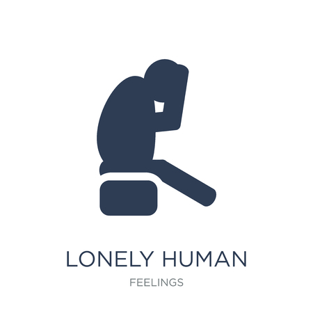 lonely human icon. Trendy flat vector lonely human icon on white background from Feelings collection, vector illustration can be use for web and mobile, eps10  イラスト・ベクター素材