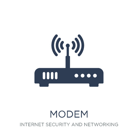 Modem icon. Trendy flat vector Modem icon on white background from Internet Security and Networking collection, vector illustration can be use for web and mobile, eps10 스톡 콘텐츠 - 112134515