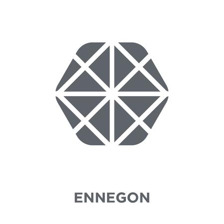 Ennegon-pictogram. Ennegon ontwerpconcept uit geometrie collectie. Eenvoudig element vectorillustratie op witte achtergrond.