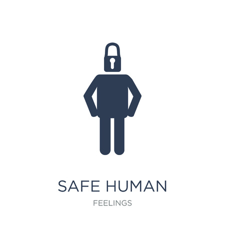 safe human icon. Trendy flat vector safe human icon on white background from Feelings collection, vector illustration can be use for web and mobile, eps10