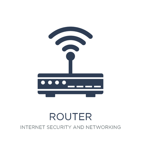 Router icon. Trendy flat vector Router icon on white background from Internet Security and Networking collection, vector illustration can be use for web and mobile, eps10 Stock Vector - 112134530