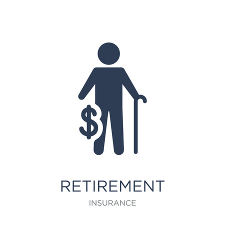 Retirement icon. Trendy flat vector Retirement icon on white background from Insurance collection, vector illustration can be use for web and mobile, eps10