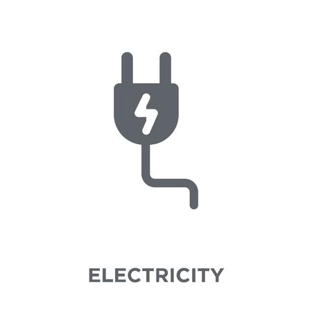 Icono de electricidad. Concepto de diseño de electricidad de colección. Ilustración de vector de elemento simple sobre fondo blanco.