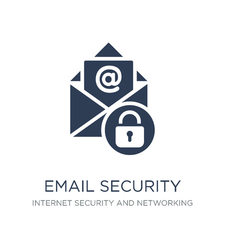 Email security icon. Trendy flat vector Email security icon on white background from Internet Security and Networking collection, vector illustration can be use for web and mobile, eps10