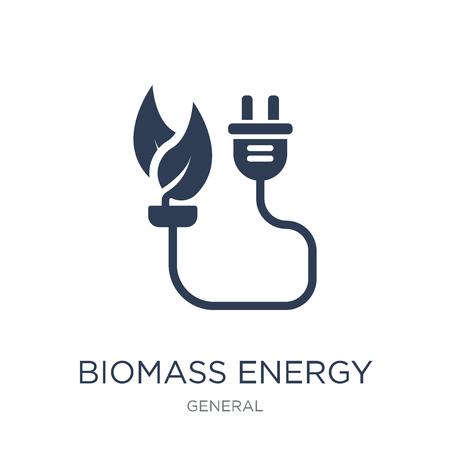 Symbol für Biomasse-Energie. Trendiges flaches Vektor-Biomasse-Energiesymbol auf weißem Hintergrund aus der allgemeinen Sammlung, Vektorillustration kann für Web und Mobile verwendet werden, eps10 Vektorgrafik