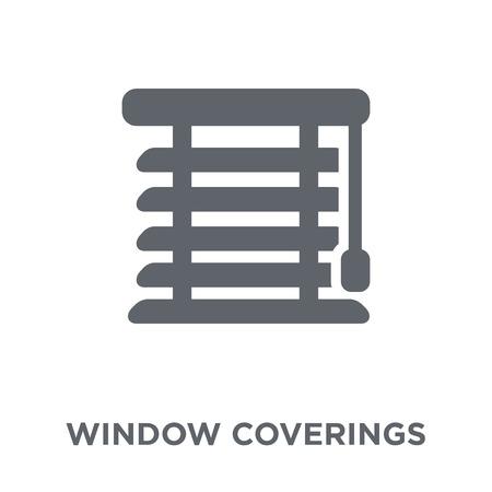 Raambekleding icoon. Het ontwerpconcept van raambekleding uit de collectie meubelen en huishoudens. Eenvoudig element vectorillustratie op witte achtergrond.