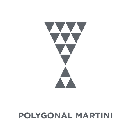 Polygonal martini glass shape icon. Polygonal martini glass shape design concept from Geometry collection. Simple element vector illustration on white background. 向量圖像