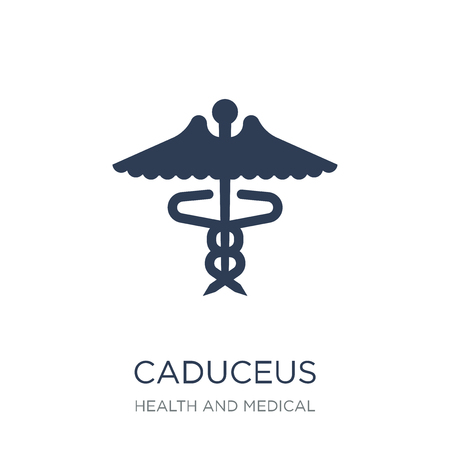 Caduceus icon. Trendy flat vector Caduceus icon on white background from Health and Medical collection, vector illustration can be use for web and mobile, eps10 Ilustrace