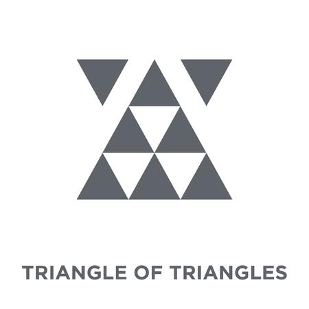 Triangle of triangles icon. Triangle of triangles design concept from Geometry collection. Simple element vector illustration on white background. Ilustração