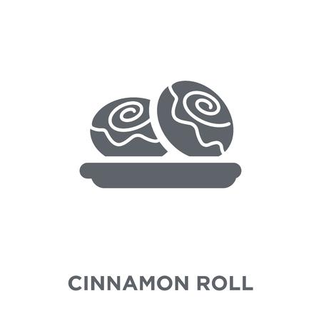 Ikona rolki cynamonu. Koncepcja projektu bułki cynamonowej z kolekcji Restaurant. Prosty element ilustracji wektorowych na białym tle. Ilustracje wektorowe