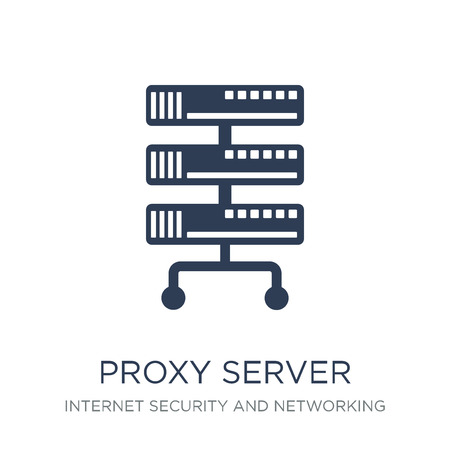 proxy server icon. Trendy flat vector proxy server icon on white background from Internet Security and Networking collection, vector illustration can be use for web and mobile, eps10 Illustration