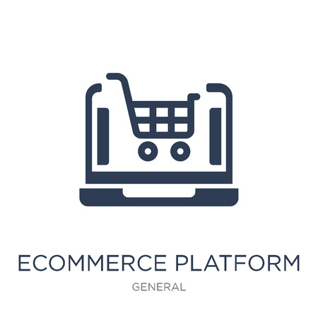 ecommerce platform icon. Trendy flat vector ecommerce platform icon on white background from general collection, vector illustration can be use for web and mobile, eps10 Illusztráció