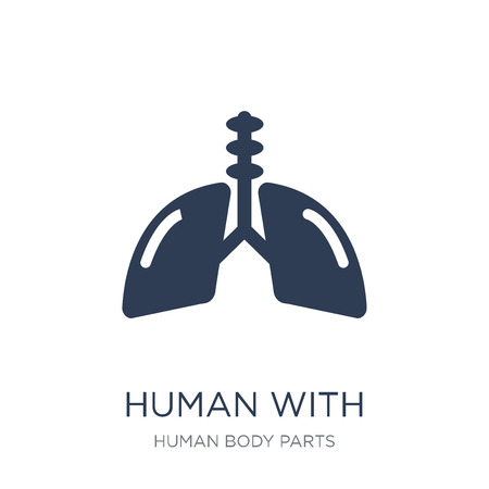 Human with focus on the lungs icon. Trendy flat vector Human with focus on the lungs icon on white background from Human Body Parts collection, vector illustration can be use for web and mobile, eps10