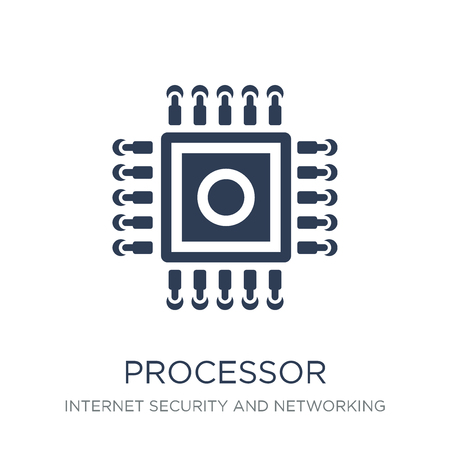 Processor icon. Trendy flat vector Processor icon on white background from Internet Security and Networking collection, vector illustration can be use for web and mobile, eps10