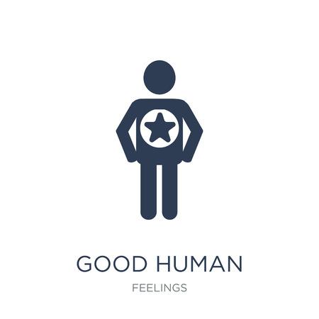gute menschliche Ikone. Trendy flacher Vektor gutes menschliches Symbol auf weißem Hintergrund aus der Feelings-Sammlung, Vektorillustration kann für Web und Mobile verwendet werden, eps10