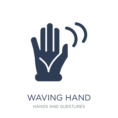 Waving hand icon. Trendy flat vector Waving hand icon on white background from Hands and guestures collection, vector illustration can be use for web and mobile, eps10