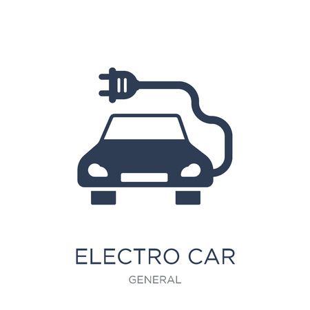 electro car icon. Trendy flat vector electro car icon on white background from general collection, vector illustration can be use for web and mobile, eps10