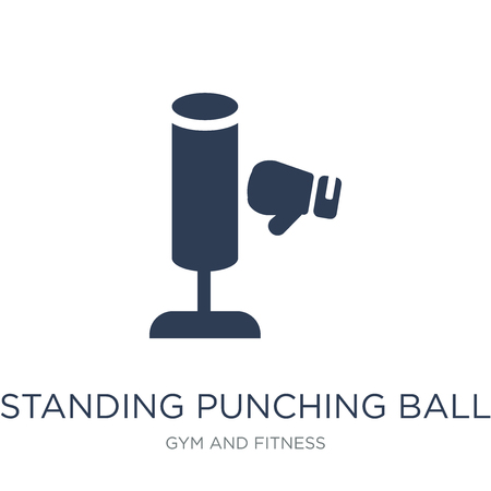 Standing Punching Ball icon. Trendy flat vector Standing Punching Ball icon on white background from Gym and fitness collection, vector illustration can be use for web and mobile, eps10 Illustration