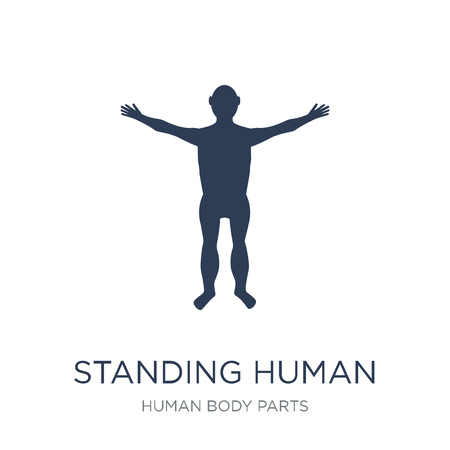 Standing human body icon. Trendy flat vector Standing human body icon on white background from Human Body Parts collection, vector illustration can be use for web and mobile, eps10 Foto de archivo - 112137090