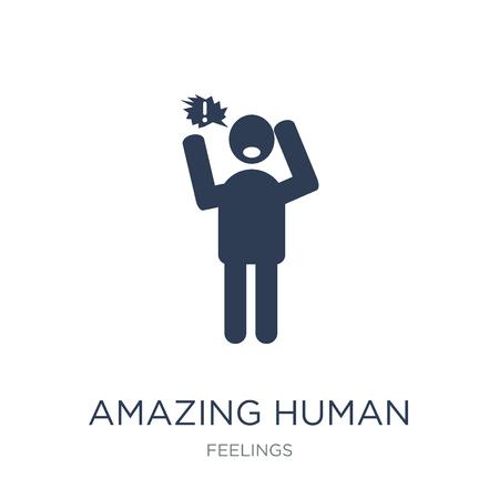 erstaunliche menschliche Ikone. Trendiges flaches Vektor erstaunliches menschliches Symbol auf weißem Hintergrund aus der Feelings-Sammlung, Vektorillustration kann für Web und Mobile verwendet werden, eps10
