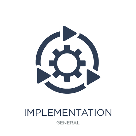 implementation icon. Trendy flat vector implementation icon on white background from general collection, vector illustration can be use for web and mobile, eps10 Stock fotó - 112137243