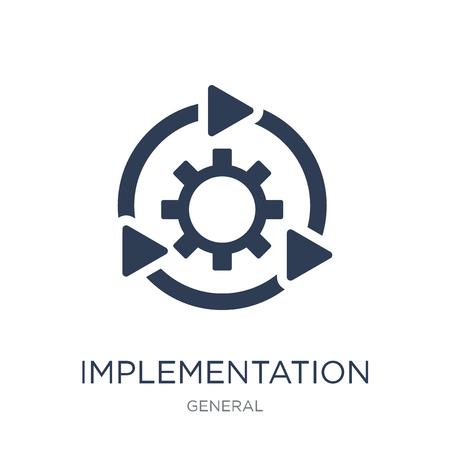 Implementierungssymbol. Trendiges flaches Vektorimplementierungssymbol auf weißem Hintergrund aus der allgemeinen Sammlung, Vektorillustration kann für Web und Mobile verwendet werden, eps10 Vektorgrafik