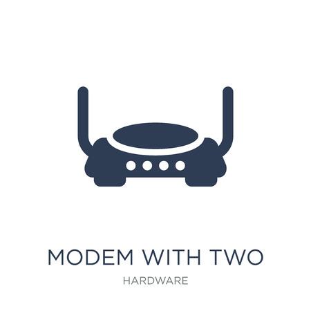Modem mit Symbol für zwei Antennen. Trendiges flaches Vektormodem mit zwei Antennensymbol auf weißem Hintergrund aus der Hardwaresammlung, Vektorillustration kann für Web und Mobile verwendet werden, eps10 Vektorgrafik