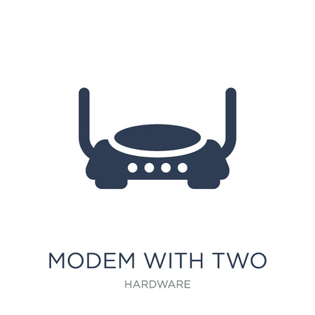 Modem with Two Antenna icon. Trendy flat vector Modem with Two Antenna icon on white background from hardware collection, vector illustration can be use for web and mobile, eps10 Stock Vector - 112137246
