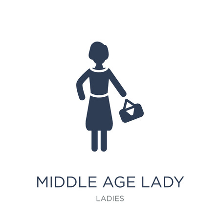 Middle Age Lady icon. Trendy flat vector Middle Age Lady icon on white background from Ladies collection, vector illustration can be use for web and mobile, eps10 Иллюстрация