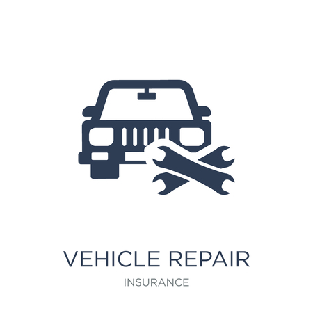 Vehicle repair icon. Trendy flat vector Vehicle repair icon on white background from Insurance collection, vector illustration can be use for web and mobile, eps10 Banco de Imagens - 112137262